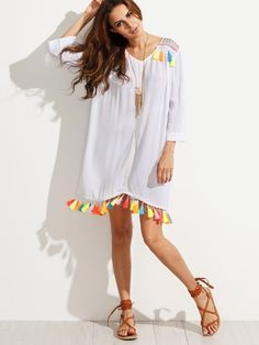 Fabric: Fabric has no stretch Season: Summer Type: Tunic Sleeve Length: Three Quarter Length Sleeve Color: White Dresses Length: Short Style: Vintage Material: 100% Rayon Neckline: Round Neck Silhouet