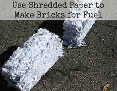 Use Shredded Paper to Make Bricks for Fuel - Perfect for reusing scrap paper for winter fire starters!