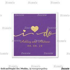 Gold and Purple I Do | Wedding Paper Napkin