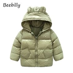 ce255f302 US $16.19 |New Baby Girls Clothes Coats Children's Winter Thick Warm Cotton  Jackets Kids Sports Hooded Outerwear Boys Bear Ear Style Parkas-in Down &  Parkas ...