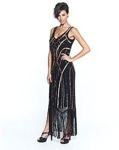 Joanna Hope Sequin Fringe Maxi Dress | Fifty Plus