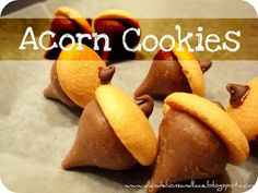 nilla wafer and hershey kiss acorn cookies. fun no-bake to make with kids for Thanksgiving.