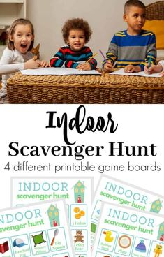 Free printable Indoor Scavenger Hunt for Kids is perfect for children ages 4 and up. Print these 4 different game boards as many times as you want. Preschool Scavenger Hunt, Scavenger Hunt For Kids, Scavenger Hunts, Indoor Activities For Kids, Indoor Games For Children, Summer Activities, Weather Activities, Family Activities, Outdoor Activities