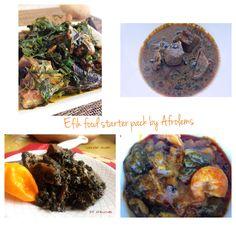 Efik food starter pack. Afang soup, abak atama soup, edikang ikong, ekpangnkukwo recipes on afrolems.com