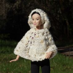 Barbie Doll Poncho and Slouch Hat  Knitted  by MeadowLakeTreasures
