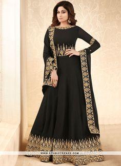 3fc3c71b0c Buy honourable Shamita Shetty black faux georgette floor length anarkali  suit at best price.