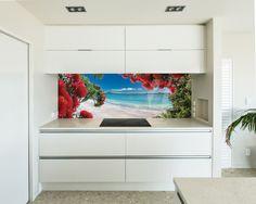 Printed image on glass kitchen splashback / backsplash by Lucy G. 'Glendowie Paradise' http://www.lucygsplashbacks.co.nzLucy works with customers all over the world.