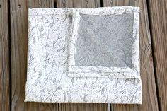 The Lyla - Cotton Knit Swaddle Stretch Snuggle Baby Girl Blanket Gray White Lace by Mint Chocolate Chip