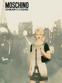 Hannah Holman is autumnal and glamorous in this stylish campaign for Moschino Cheap & Chic F/W 2011. We're loving the watercolour paintings of London and Paris in the background