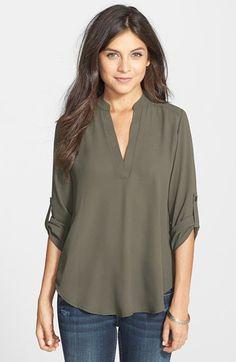 Lush Roll Tab Sleeve Woven Shirt | Nordstrom