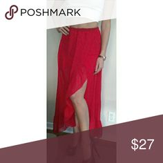 Red Chiffon Ruffle Slit Maxi Skirt This red chiffon maxi skirt has a mini skirt lining to show off your legs; not to mention a ruffle accented slit in the front for an even sexier detail! Elastic band waist allows for the perfect fit. Need some sexy heels to go along with it? Check out my closet! Also on ?ercar? Skirts Maxi