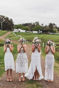White Bridesmaid Dresses, White Wedding Dresses, 2018 Wedding Trends, Wedding Themes, Wedding Venues, Wedding Ideas, Bridesmaid Inspiration, Wedding Inspiration, Bohemian Wedding Dresses
