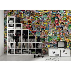 DC Comics Wallpaper Wallpaper Smithers of Stamford £ 65.00 Store UK, US, EU, AE,BE,CA,DK,FR,DE,IE,IT,MT,NL,NO,ES,SE Comic Book Wallpaper, Interior Wallpaper, Wood Wallpaper, Vintage Comic Books, Vintage Comics, Dc Comics Collection, Stamford, Wooden Crates, Batgirl
