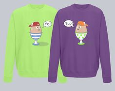 Twins Sweatshirt Set, Egg Buddies, 2 Pack, Sizes 3rs to 10yrs, Different Colour Combinations.