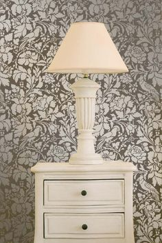 Ooh, la, la! Our lovely French Floral Damask wall stencil features an abundance of lush flowers pair with exotic birds. Based on an historic French floral fabric, this stencil can be the perfect compl