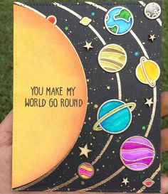 One more galaxy space themed card! This time a You Make my World Go Round thinki. : One more galaxy space themed card! This time a You Make my World Go Round thinki. Card galaxyspace Roundthinki Themed Time world more galaxy space themed Galaxy Painting, Galaxy Art, Diy Painting, Painting & Drawing, Galaxy Space, Diy Galaxy, Space Painting, Easy Canvas Painting, Watercolor Galaxy
