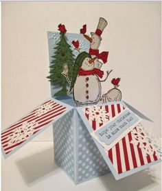 Never Too Soon for Winter Card Box Boxed Christmas Cards, Holiday Cards, Xmas Crafts, Paper Crafts, Stampin Up Weihnachten, Pop Up Box Cards, Card Boxes, Exploding Box Card, Snowman Cards