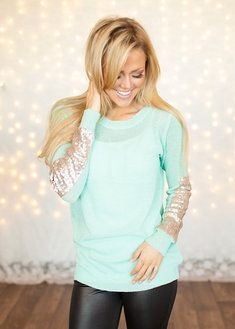 Party Sequins Patch Sweater Mint and black leather