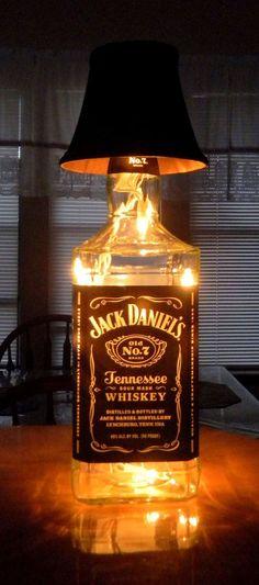Jack Daniels bottle light, fill w amber coloured glass stones to represent the liquor