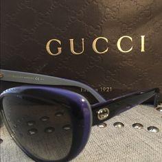 Gucci Cat Eye Sunglasses Gucci Cat Eye Sunglasses Black with a blue trim. Authentic. Gucci Accessories Sunglasses
