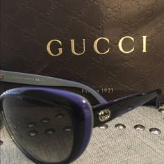 Gucci Cat Eye Sunglasses Gucci Cat Eye Sunglasses Black with a blue trim. Authentic. Gucci Accessories Sunglasses