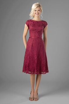 Bridesmaid Dresses modest bridesmaid dresses with bateau neckline and lace, knee length Betty at LatterDayBride - Semi Formal Dresses Modest, Modest Dresses, Pretty Dresses, Short Dresses, Girls Dresses, Prom Dresses, Modest Clothing, Formal Knee Length Dresses, Modest Outfits