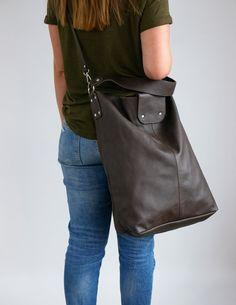 62e98e040245b Oversize Shopper Bag Large Shopper Leather Tote Bag Large | Etsy Ciemny Brąz