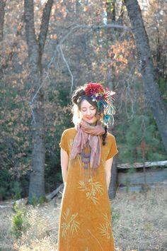 Indonesian Dress... Boho Gypsy... Mustard Yellow Batik Maxidress... by AstralBoutique, $38.00