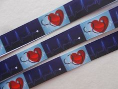 Hearts ribbon Nurses Doctors Heartbeat Great for making Hair Bows, Hair Ties, Headbands, Sewing, Lanyards Crafts 7/8 inch grosgrain ribbon.