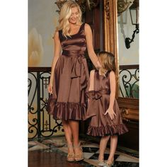 Chocolate Brown Fit Flare Ruffle Midi Mommy and Me Dress With Belt