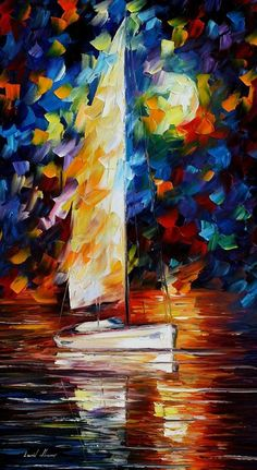 SAILING WITH THE MOON - Palette knife Oil Painting on Canvas by Leonid Afremov - http://afremov.com/SAILING-WITH-THE-MOON-Palette-knife-Oil-Painting-on-Canvas-by-Leonid-Afremov-Size-20-x36.html?bid=1&partner=20921&utm_medium=/vpin&utm_campaign=v-ADD-YOUR&utm_source=s-vpin