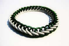 Green and White Stretchy Half Persian Bracelet by MelonLove, $12.00