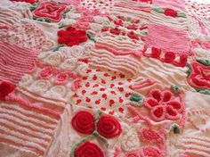 Sweet vintage chenille princess pink and red by CulpsCozyQuiltCoop