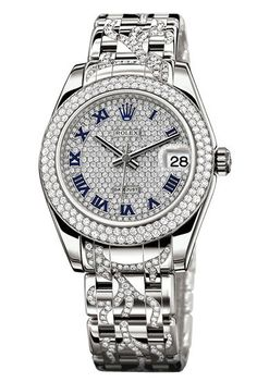 81339 Diamond-paved dial diamond bracelet Rolex Datejust Special Edition White Gold Diamond - швейцарские женские часы Ролекс, наручные, золотые с бриллиантами, белые