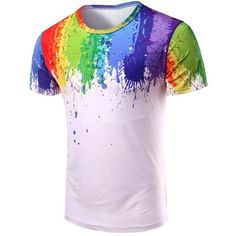 Round Neck 3D Splash Ink Print Short Sleeve T Shirt For Men ($9.87) ❤ liked on Polyvore featuring men's fashion, men's clothing, men's shirts, men's t-shirts, mens short sleeve shirts, mens print shirts, mens patterned t shirts, mens leopard print t shirt and mens patterned shirts