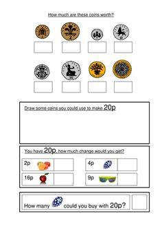 Money worksheets coin recognition, change and problem solving, differentiated by amount or Teaching Skills, Teaching Math, Teaching Resources, Money Worksheets, School Worksheets, Learning Money, Fun Learning, Money Activities, Money Games Ks1
