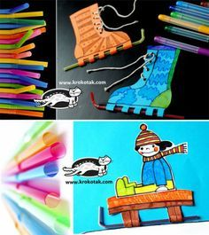 Sled and Ice Skate craft made with straws, printables free and available Winter Crafts For Toddlers, Winter Kids, Winter Activities, Toddler Crafts, Activities For Kids, Winter Sport, Classroom Crafts, Preschool Crafts, Kids Crafts