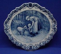"""♥ ~ ♥ Blue and White ♥ ~ ♥ Oval Wall Plaque """"Mother with Baby"""" Royal Delft Blue Delft, Blue Dishes, White Dishes, Blue And White China, Love Blue, Flow Blue China, Blue White Kitchens, Blue Plates, China Plates"""