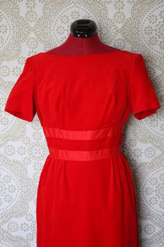 Vintage 1950's Emma Domb Bombshell Red Velvet Evening Gown Medium by pursuingandie, $99.00