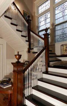 Charles R. and Ida Richardson Huntley House 440 Linwood Avenue, Buffalo, New York stairway leaded glass windows