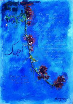 Buganvilla y una declaración de amor - Acrílico sobre tabla - 50 x 60 cm - Amgros Arte