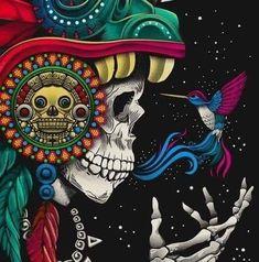 Art Chicano, Aztec Culture, Art Tribal, Hummingbird Art, Day Of The Dead Art, Mexico Art, Mesoamerican, Mexican Designs, Indigenous Art