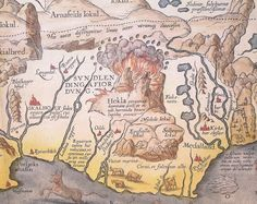 NORSE CONTENT ALERT!  Detail of Abraham Ortelius' 1585 map of Iceland showing Hekla in eruption.