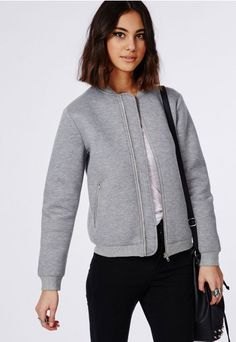Neoprene Bomber Jacket Grey - Coats & Jackets - Missguided