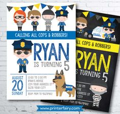 Cops and robbers Invitation Police Birthday Invitation