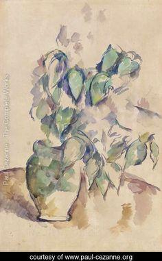 Feuilles dans un pot vert - Paul Cezanne - www.paul-cezanne.org