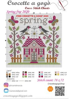 Gogò crosses .....: Small gift ... Cross stitch free of spring Cross Stitch House, Small Cross Stitch, Just Cross Stitch, Cross Stitch Heart, Cross Stitch Flowers, Cross Stitch Kits, Cross Stitch Designs, Counted Cross Stitch Patterns, Cross Stitch Embroidery