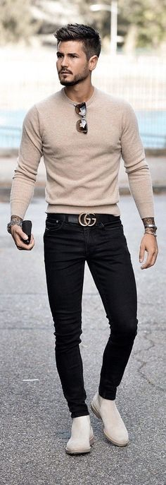 Simple fall outfit inspiration with beige sweater . - - Simple fall outfit inspiration with beige sweater … – - Simple Fall Outfits, Casual Fall, Casual Wear, Mode Man, Moda Formal, Stylish Mens Outfits, Classy Outfits, Outfits For Men, Clothes For Men