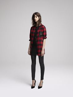 Maje: Tartan shirt with leather pocket, Lace dress, Stretch leather slim trousers, Leather pumps