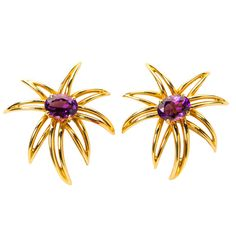 Tiffany & Co. Fireworks Amethyst Gold Earrings   From a unique collection of vintage clip-on earrings at https://www.1stdibs.com/jewelry/earrings/clip-on-earrings/